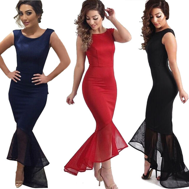 AU Women Long Formal Prom Dress Cocktail Party Ball Gown Evening Wedding Dresses