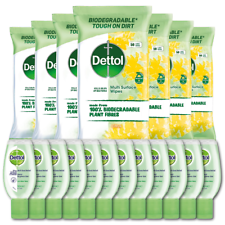 Dettol Biodegradable Citrus Wipes 8 x 50 per pack (400 Total) + 12 50ml Hand Gel