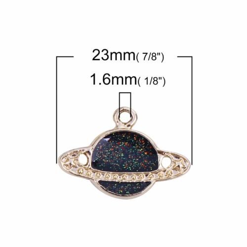 Planet Saturn 23mm Gold Plated Black Enamel Charms C8905-2 5 Or 10PCs