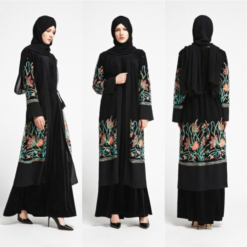 Dubai Open Abaya Embroidery Muslim Islamic Maxi Kaftan Arab Party Robe Womens