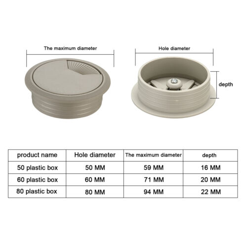 50//60//80mm Computer Desk Metal//Plastic Grommet Table Cable Tidy Wire Hole Cover
