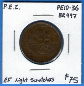 Canada P.E.I. Ships Colonies And Commerce Token Breton 997 PE10-36 - EF Scratch