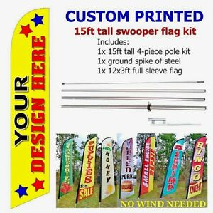 yz TITLE LOANS Windless Swooper Flag 15/' KIT Feather Banner Sign
