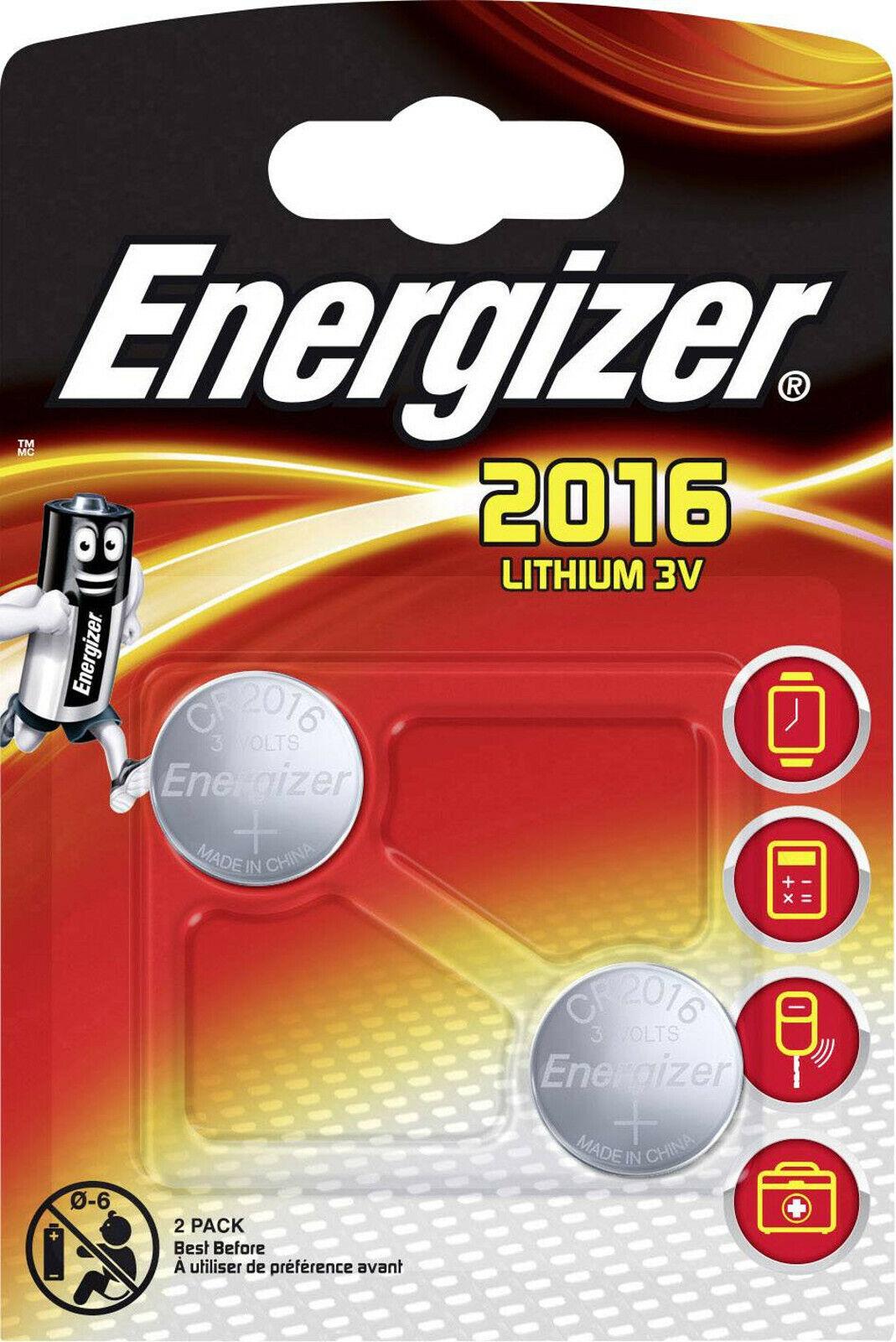5x2er Blister CR2016 IEC C Knopfzelle ECR20162 10x Energizer  Lithium 3V Zelle