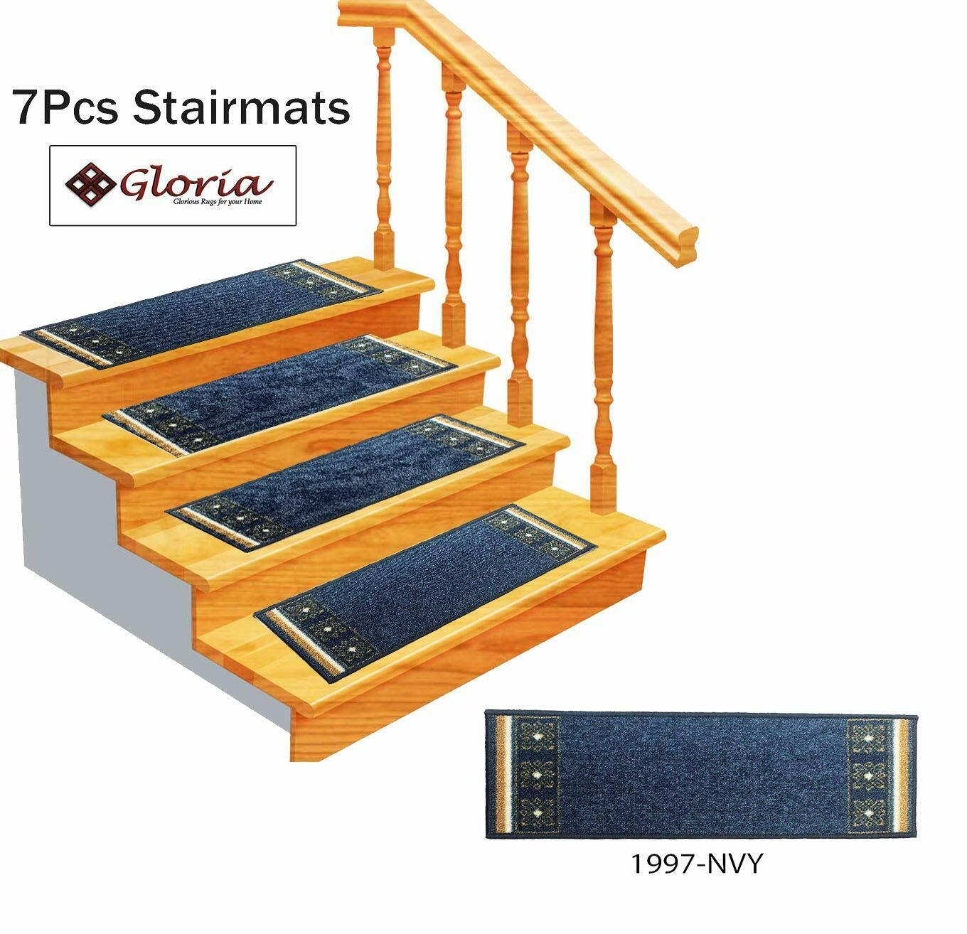 SET OF 7 Stair Rug Carpet Stair Treads Non Slip Skid Resistant Washable Mat
