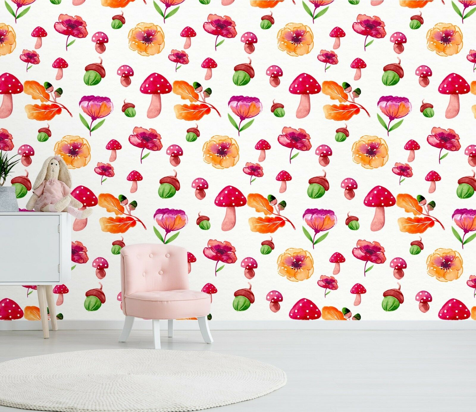 3D Aquarell Pilz Blume 22 Tapete Wandgemälde Tapete Tapeten Familie Kinde DE