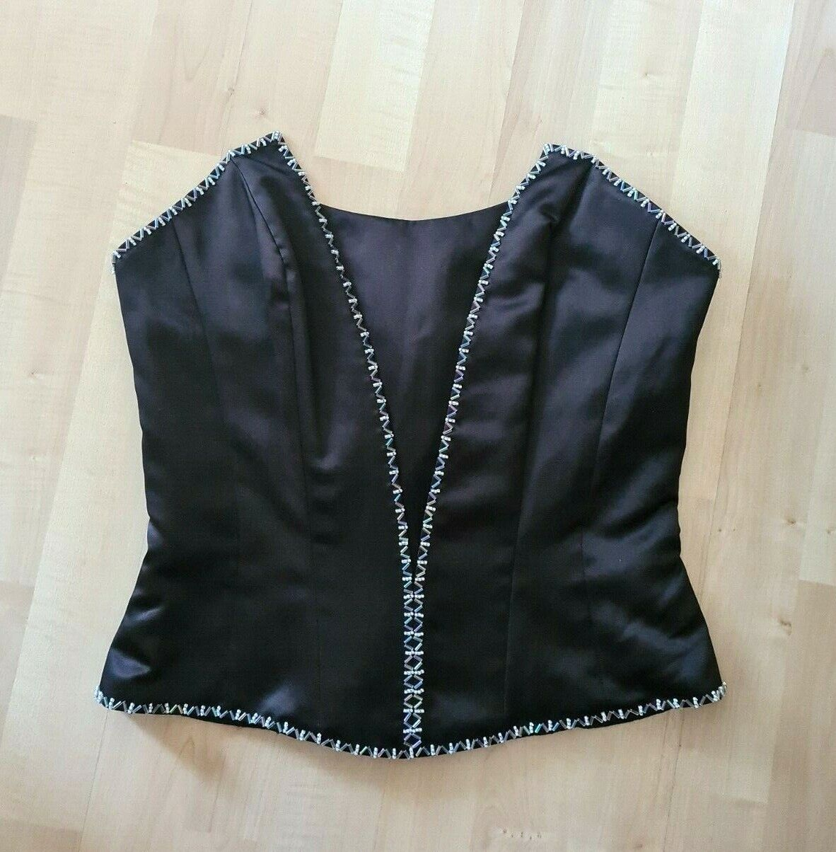 IMPRESSION Bridal Corset Black Strapless Formal Top 1014 Beaded Size 10 NWT