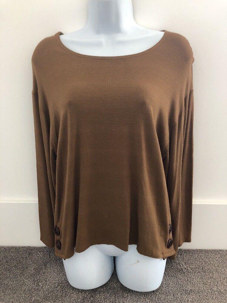 Damenschuhe Jessica Braun Long Sleeve Top/Shirt With Button Detail. Größe 1. NWT