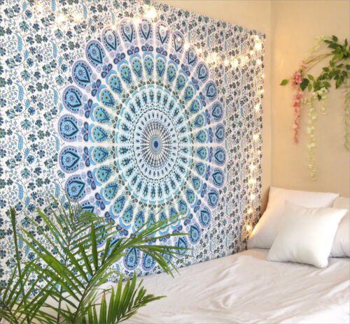 Indian Wall Hippie Hanging Bohemian Bedspread Blue Peacock Mandala Tapestry Mat