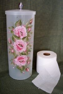 Hand painted roses toilet paper holder canister pink ebay - Toilet roll canister ...