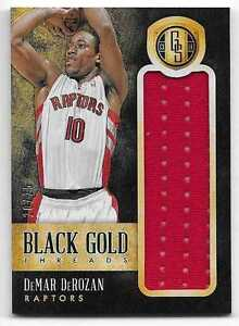 pretty nice 9616f 4910c Details about 2013-14 Gold Standard DeMAR DeROZAN Black Gold Threads Jumbo  Jersey /25 Raptors