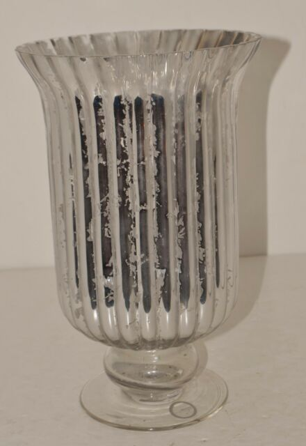 Fifth Avenue Crystal Luminaire Ribbed Mercury Glass Hurricane Silver