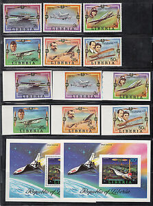Liberia # 794-800 MNH BOTH Perf & IMPERF 1978 Aviation Set CV $27!