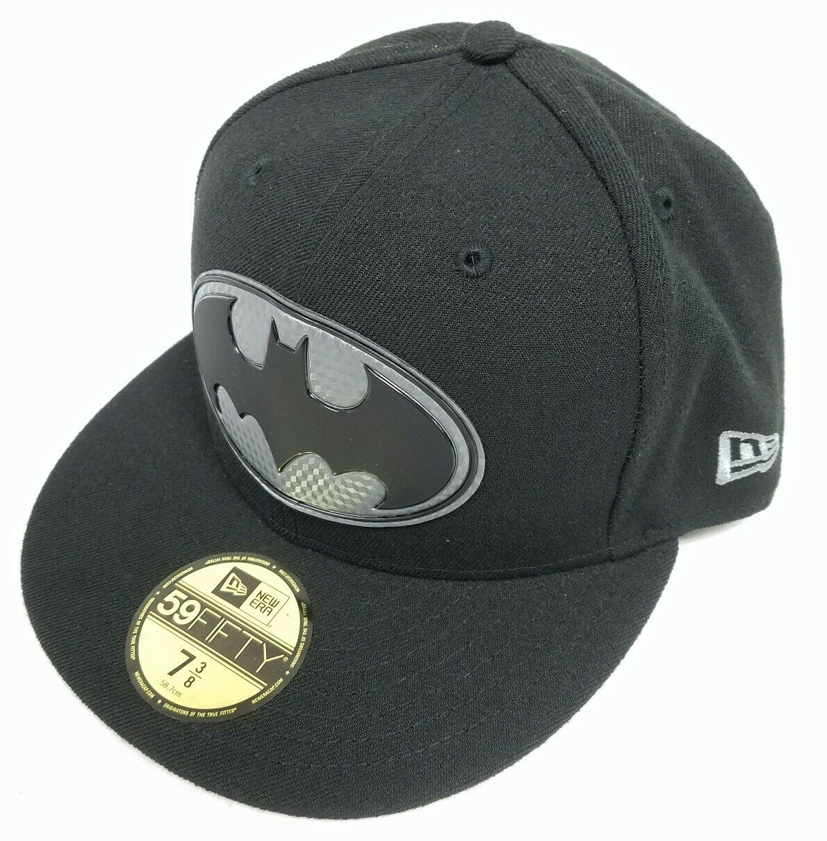 Batman Logo Hexshine Black 7 3/8 Fitted Comics Cap DC Comics Fitted New Era 59Fifty New Unworn 98a5b6