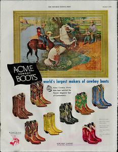 1952 Acme Cowboy Boots World's Largest Makers Vintage Print Ad 1800