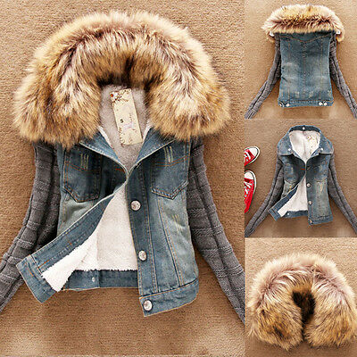 Womens Winter Warm Coat Fur Collar Knit Long Sleeve Jeans Jacket Denim Outwear