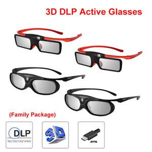4pack-BOBLOV-Active-Shutter-3D-DLP-Link-Glasses-Family-Package-For-BenQ-Optoma