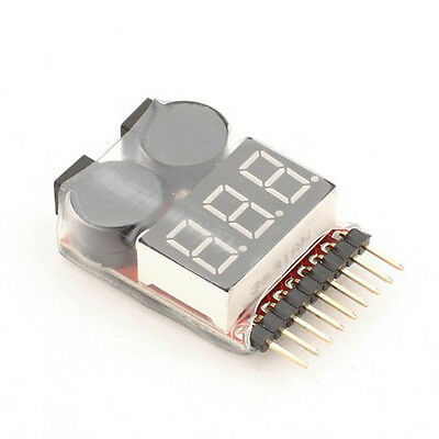 1-8S 1S-8S 2in1 Lipo/Li-ion/Fe Battery Voltage Tester Low Voltage Buzzer Alarm