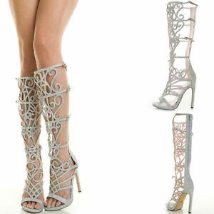 11b717eb494 Details about CELESTE SILVER BLACK OR GOLD OPEN RHINESTONE CAGED GLITTER  GLADIATOR SANDALS P2