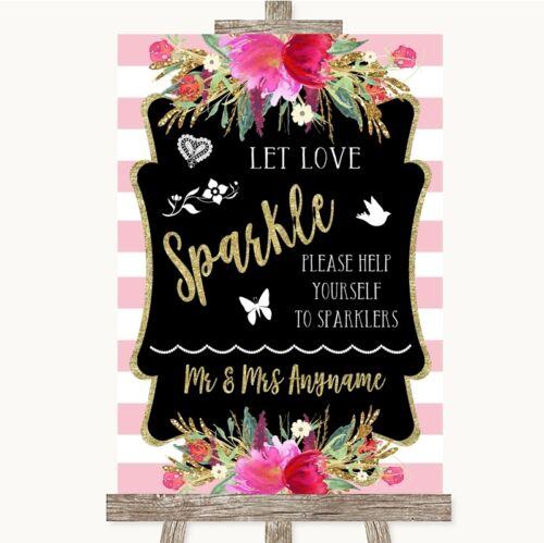 Oro y Rosa rayas que Amor Sparkle potable enviar fuera Personalizado De Boda Letrero