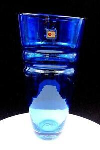 BLENKO-ART-GLASS-MID-CENTURY-BLUE-BANDED-LARGE-11-7-8-034-VASE-ORIGINAL-STICKER