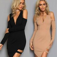 Women's Sexy Long Sleeve Strapless V-Neck Cocktail Evening Party Club MINI Dress