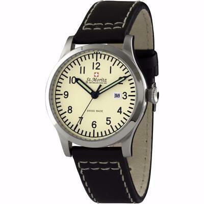Neue Mode St. Moritz Gs03610/31 Gents Cream Dial Leather Strap Swiss Made Watch Rrp £249