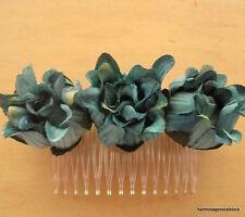 TripleTeal Dahlia Silk Flower Hair Comb,Dance,Prom,Bridal,Party,Wedding