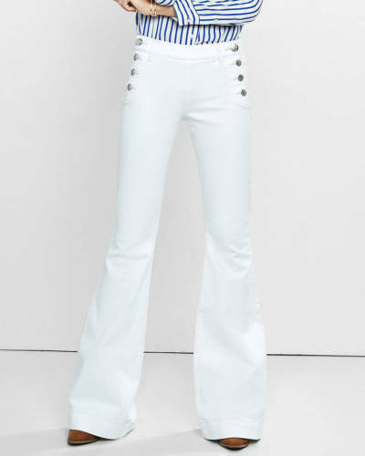 NEW Express white mid rise sailor bell flare jeans buttons sz 4, 6 short 6 long