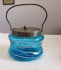 Bohemian Pallme Konig Art Nouveau Celeste Blue Threaded Covered Jar