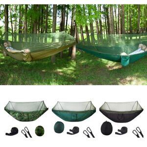 Details about Pop Up Camping Hammocks Portable Mosquito Net Parachute Nylon Travel Hammock