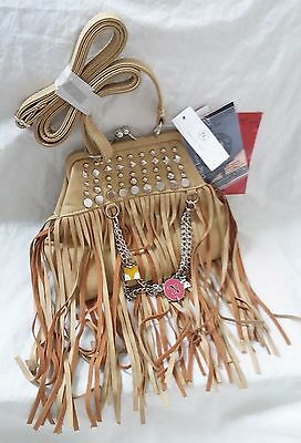 NICOLE LEE Purse Cross Body Tan Faux Leather with Fringe and Charms