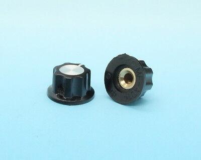 10 x Bakelite Skirted Control Knob Set Screw Type 20mmDx12mmH Black 4mm Shaft