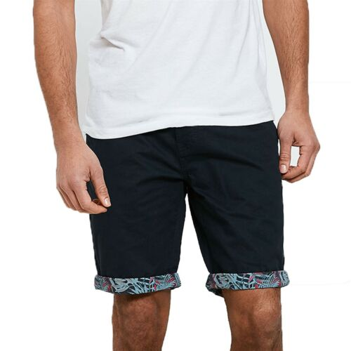 Mens Threadbare Roll Casual Floral Summer Knee Length Chino Shorts 100/% Cotton