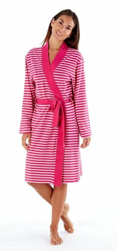 Ladies Soft Jersey Kimono Style Striped Robe in Pink,Blue,Grey and 4 sizes