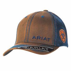 1bfa704b Details about Ariat Western Mens Hat Baseball Cap Mesh Snap Oilskin Logo  Brown 1509502