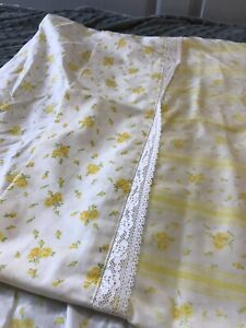 Vintage-4-Piece-Fashion-Manor-Penn-Prest-Yellow-and-White-Floral-Rose-Twin-Sheet