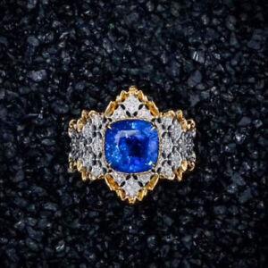 18-CT-Oro-impresionante-Natural-Tanzanite-y-Diamantes-Anillo-Cocktail-vs-Belleza