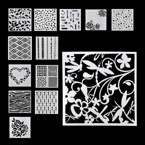13Pcs Kit Embossing Template Scrapbooking Walls Painting Layering Stencils TR