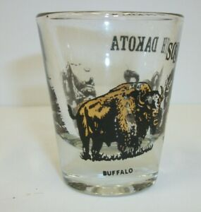 Vintage-South-Dakota-Souvenir-Shot-Glass-Black-Gold-Scenic