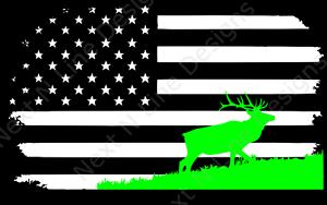 Wildlife American Flag America Hunting Window Sticker Car Decal Elk