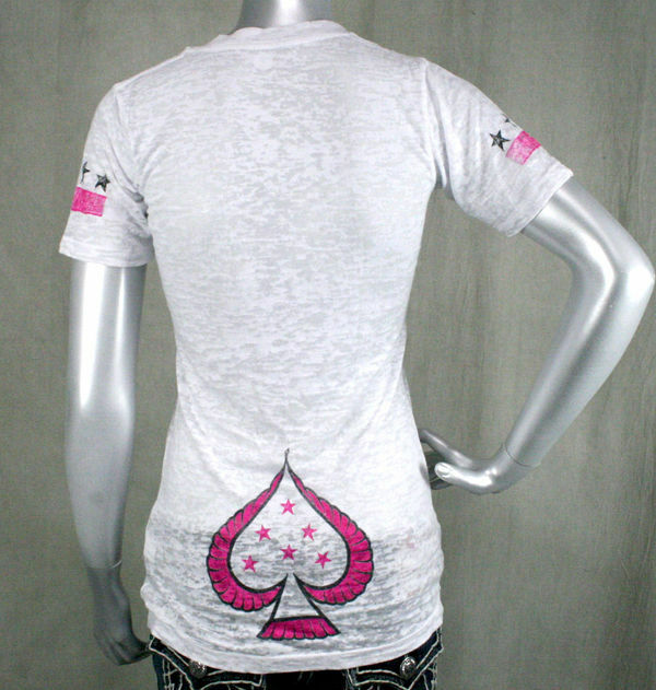 AFFLICTION damen T-shirt LONELY Crystals HEARTS Club burnout Weiß Crystals LONELY ac7711