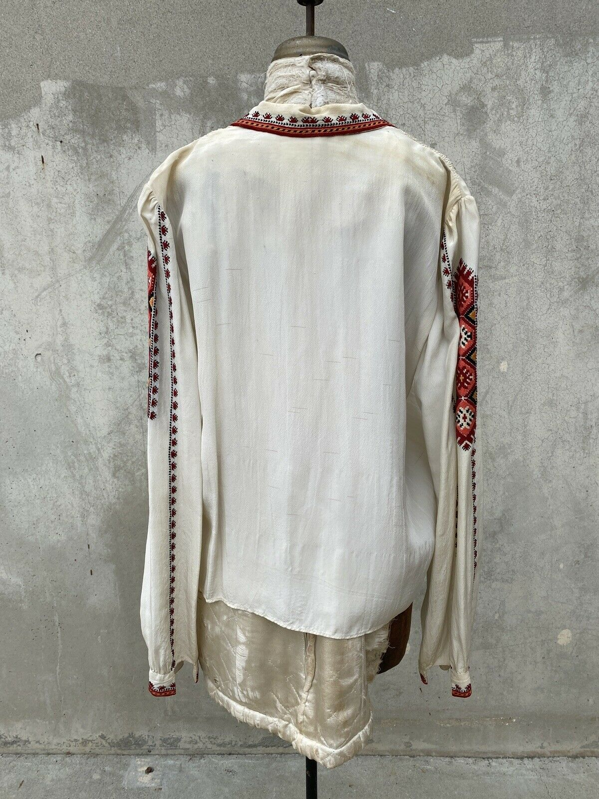 Antique 1930s White Silk Peasant Blouse Red Wool … - image 4
