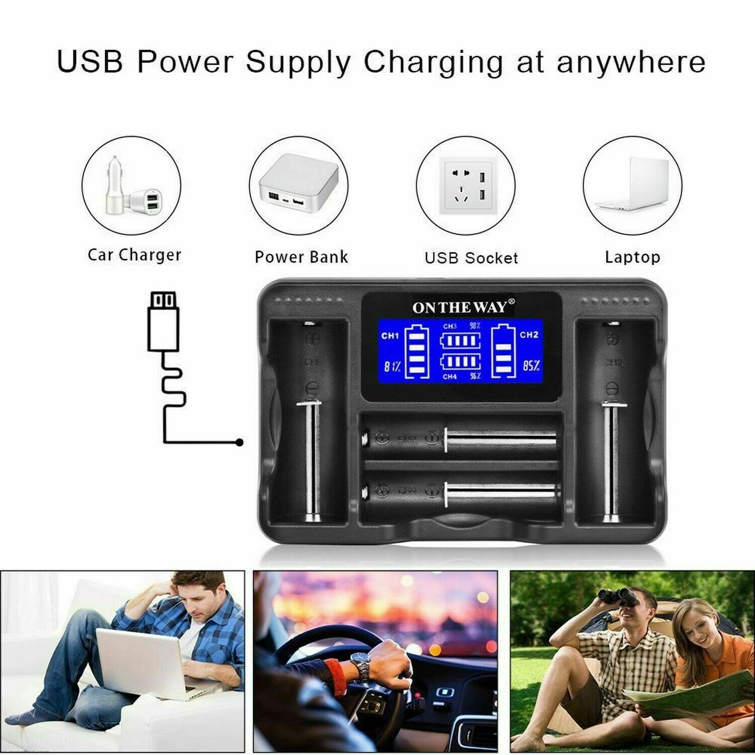 Intelligent 4 Slot Universal Battery Charger,LCD Display Speedy Automatic Cha...