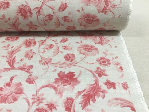 Vintage Hartley Toile French linen Curtain//Craft Fabric Tearose Red