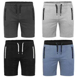 Men-039-s-Slim-informal-Jogger-corto-Liso-Gimnasio-Trotar-Pantalon-Verano-de-bolsillo-con-cremallera
