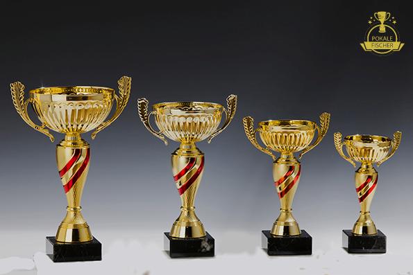 Pokale 4er set oder oder oder einzeln Gold rot Sieger Torjäger Henkelpokal 05fd82