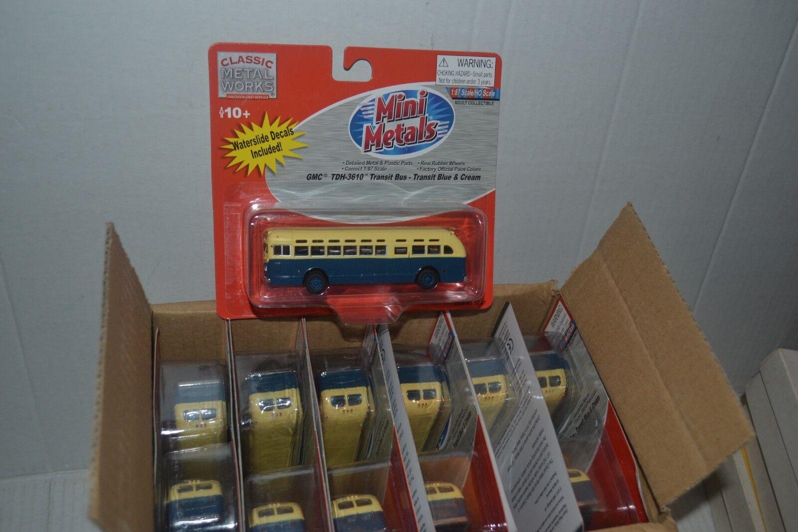 Cmw 32307 GMC TDH-3610 Transit Bus azul y crema de Escala Ho Lote de 12