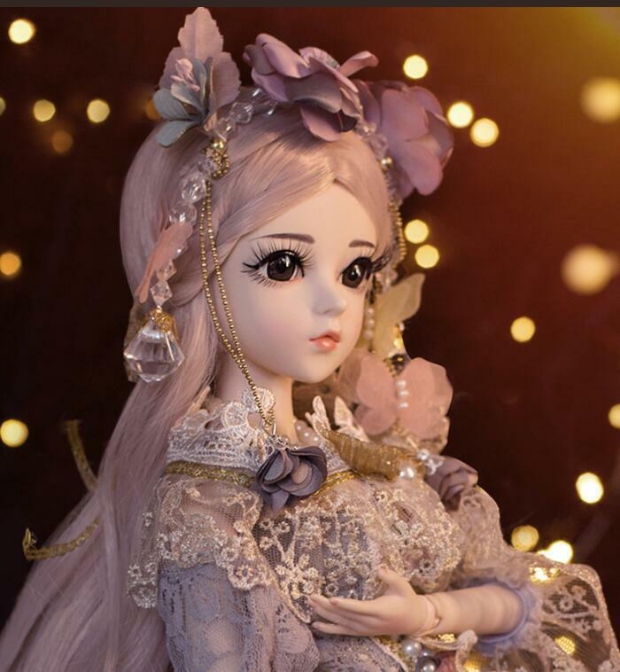 1//3 BJD Doll Handmade Girl Ball Jointed Dolls with Wig Clothes Free Eyes Set