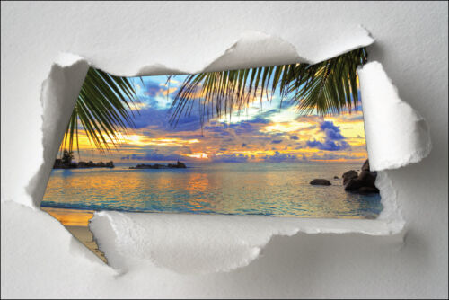 Sticker trompe l/'oeil paper torn deco palms maldives ref 1339